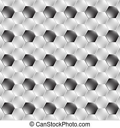 Hexagon metal background with light reflection