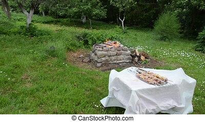 bonfire tray shashlik - garden yard smoldering bonfire...