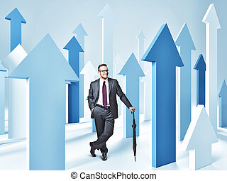 arrows and man - 3d image of blue arrows and businessman