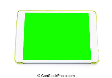Digital tablet computer with isolated green screen - Digital...