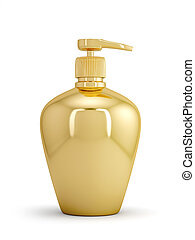 Golden bottle - 3d illustration of gel, foam or liquid soap...