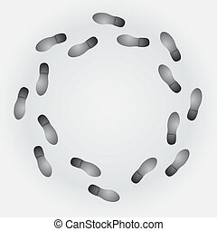 Conceptual step by step footprint with cycle trail on gray background. EPS10 vector.