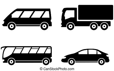 vehicle, bus, truck and car transport set - isolated...