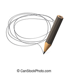 Pencil draws jauntily circle on a white background. EPS10...