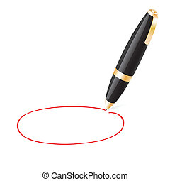 Ball pen draws jauntily circle on a white background EPS10...
