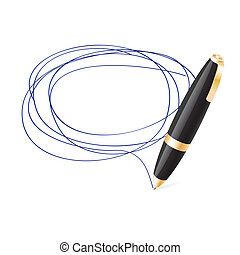 Ball pen draws jauntily circle on a white background. EPS10...