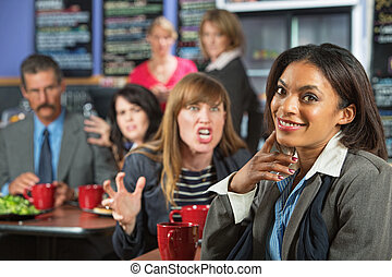 Clueless Happy Woman - Angry business woman threatening...