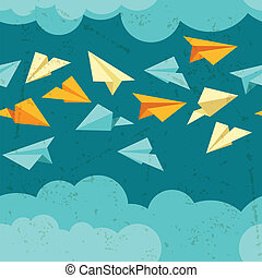 Seamless pattern of paper planes on the sky with clouds.