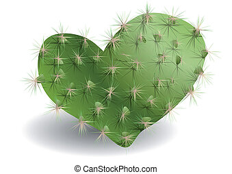 cactus in form of heart on a white backgroun