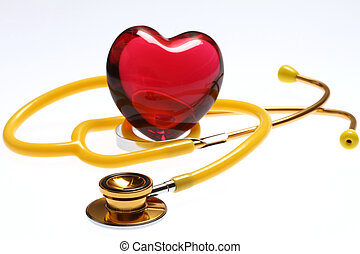 stethoscope with red glass heart - golden and yellow...