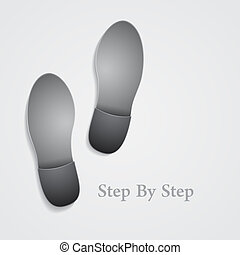 Conceptual step by step footprint on gray background