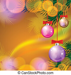 Christmas background with balls and lights