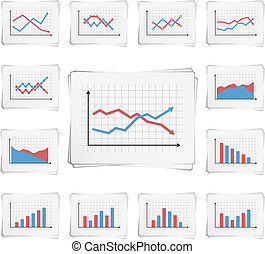 Charts - Papers with different graphs and charts, vector...