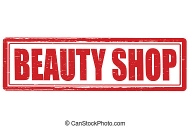 Beauty shop - Stamp with text beautz shop inside, vector...
