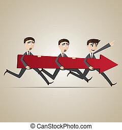 cartoon businessmen carry red arrow