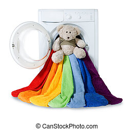 Washing machine, toy and colorful things to wash, isolated -...