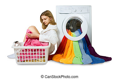 young girl and washing machine with colorful things to wash,...