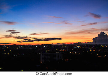 Morning sky over the city