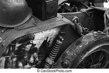 Old motorcycle with sidecar - Black and white photo of an...