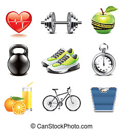 Fitness icons photo-realistic vector set