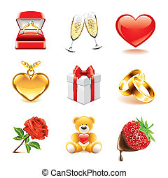 Romantic icons photo-realistic vector set - Romantic and...