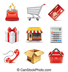 Shopping icons photo-realistic vector set