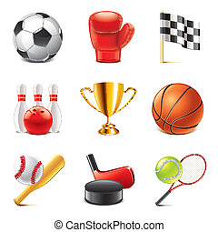 Sport icons photo-realistic vector set