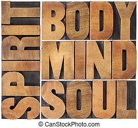 body, mind, soul and spirit word abstract - a collage of...