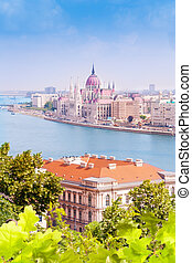 Parliament from Fishermans Bastion in Budapest - Panorama...