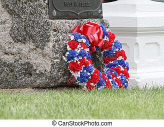 Memorial Wreath - Red, white and blue memorial wreath at a...