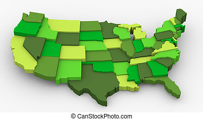 USA green map image logo - USA green map image Concept of...