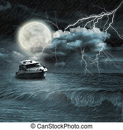 Boat in storm  evening on ocean and the moon