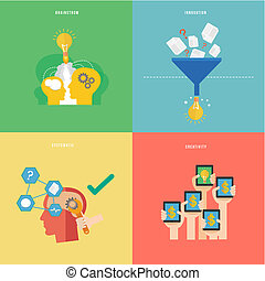 Element of creative idea and systematic thinking concept