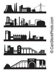 Various industrial plants - vector illustration