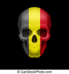 Belgian flag skull - Human skull with flag of Belgium Threat...