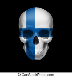 Finnish flag skull - Human skull with flag of Finland Threat...