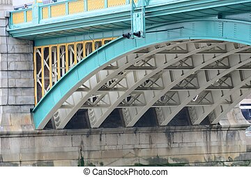 base of southwark bridge - underneath southwark bridge