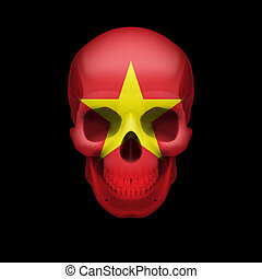 Vietnamese flag skull - Human skull with flag of Vietnam....