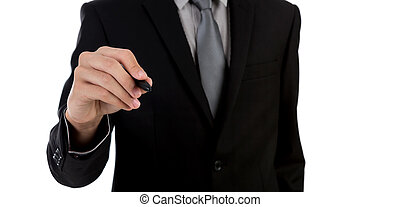 Businessman writing on copy space against white background