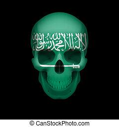 Saudi Arabian flag skull - Human skull with flag of Saudi...
