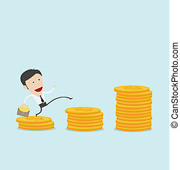 Businessman jump over coin stack