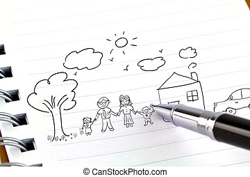 Hand draw in open book of lovely family