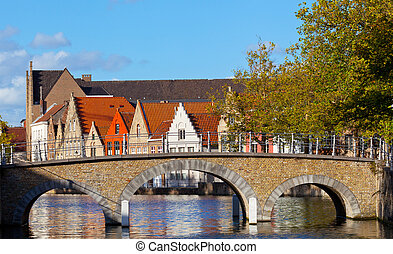 stone bridge over the channel in Bruges, Belgium