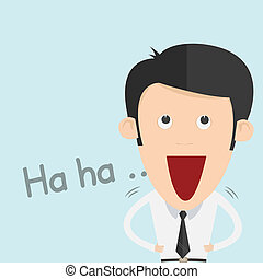 Illustration of a Boy Laughing Out Loud