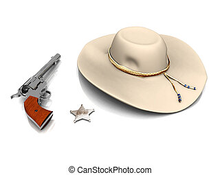 Sheriff\'s hat, sheriff\'s star and a gun.