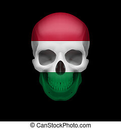 Hungarian flag skull - Human skull with flag of Hungary....