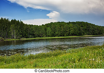 Blue sky, green wood, river and meadow - The blue sky, the...
