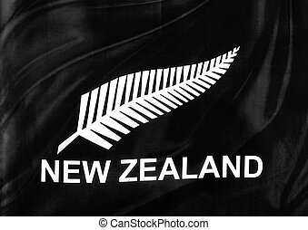 Flag - Closeup of silky New Zealand silver fern flag