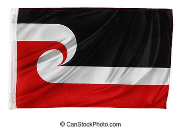 Flag - Closeup of silky Tino Rangatiratanga, Maori, flag...