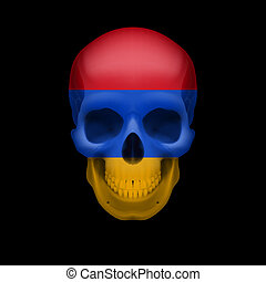Armenian flag skull - Human skull with flag of Armenia....